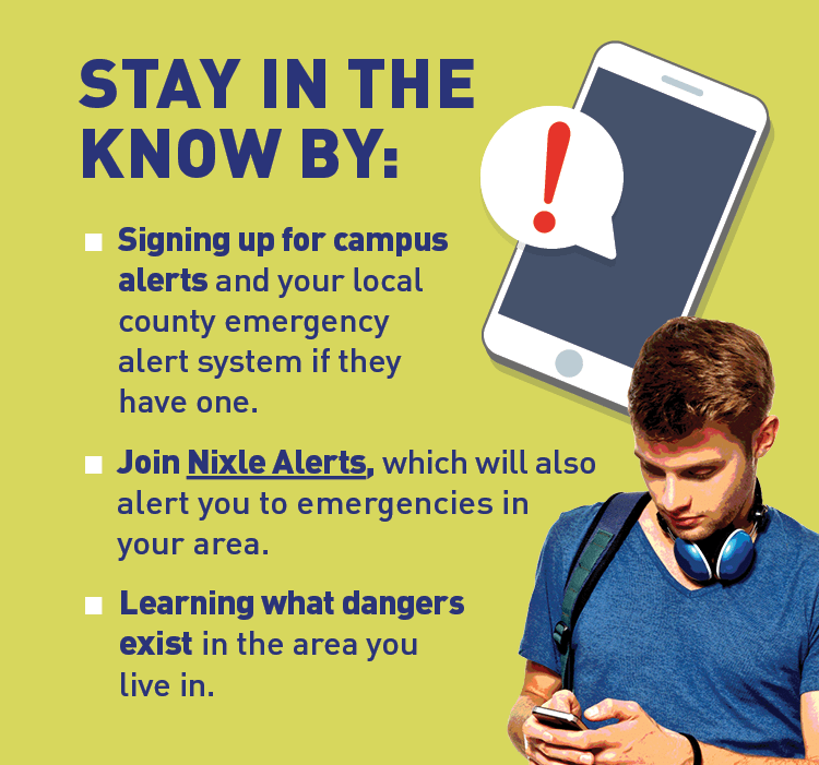 Graphic of college student using phone.