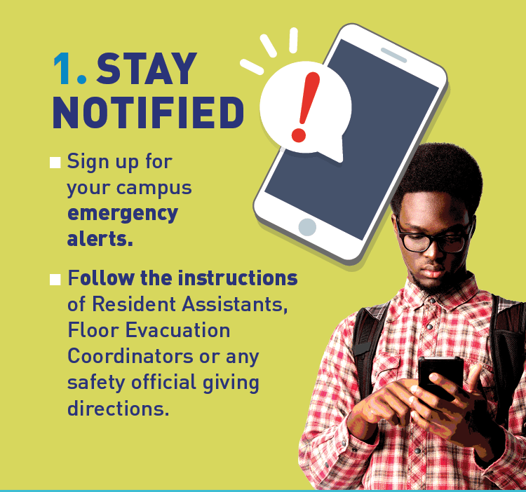Graphic of student using a phone and recieving an emergency notification.