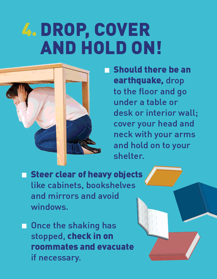 Graphics of a student seeking shelter underneath a desk and of books falling.
