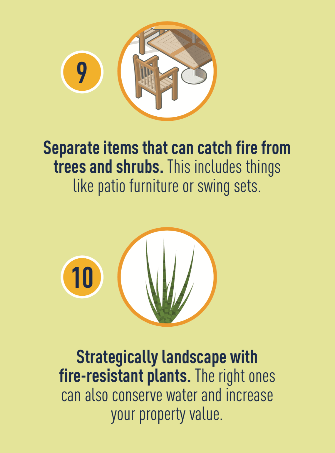 Icon of patio furniture, and icon of fire-resistant plant.