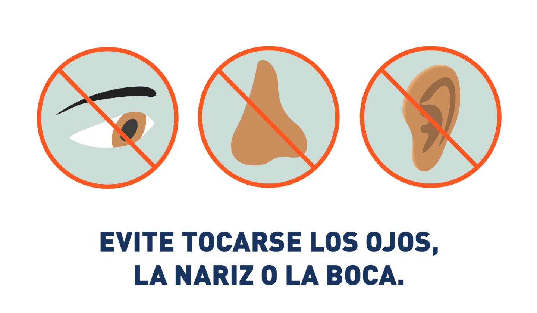 Gráfico que indica que no debe tocarse el ojo, la nariz o la boca