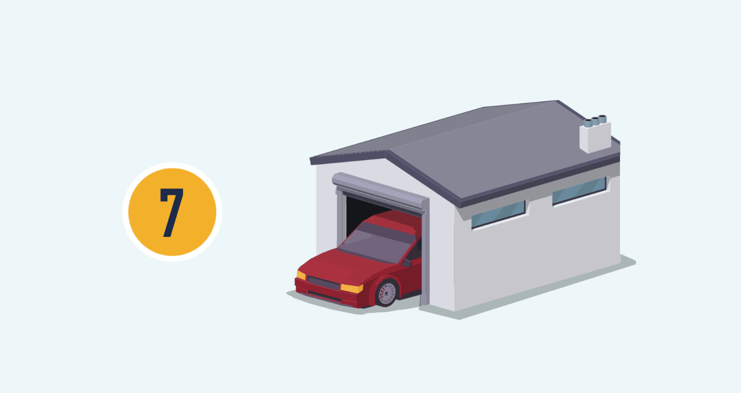 The number seven with illustration of a car in a garage with the door open