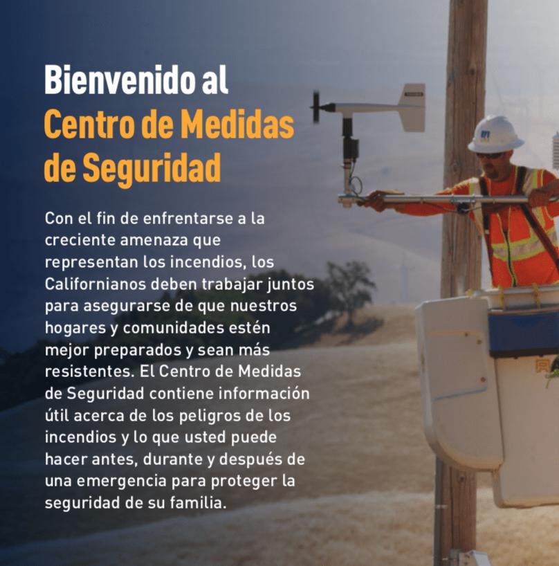 Encabezado de introducción con imagen de un trabajador de PG&E dándole servicio a cables eléctricos.
