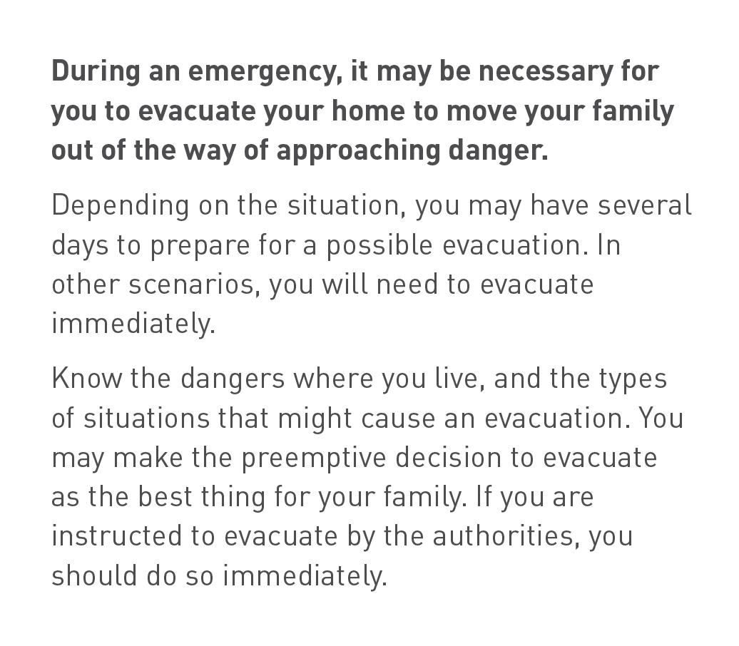 Background text on what to consider when evacuating your home