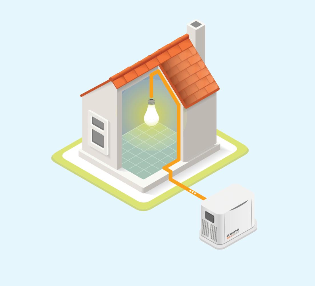 有備用電源的房屋插圖