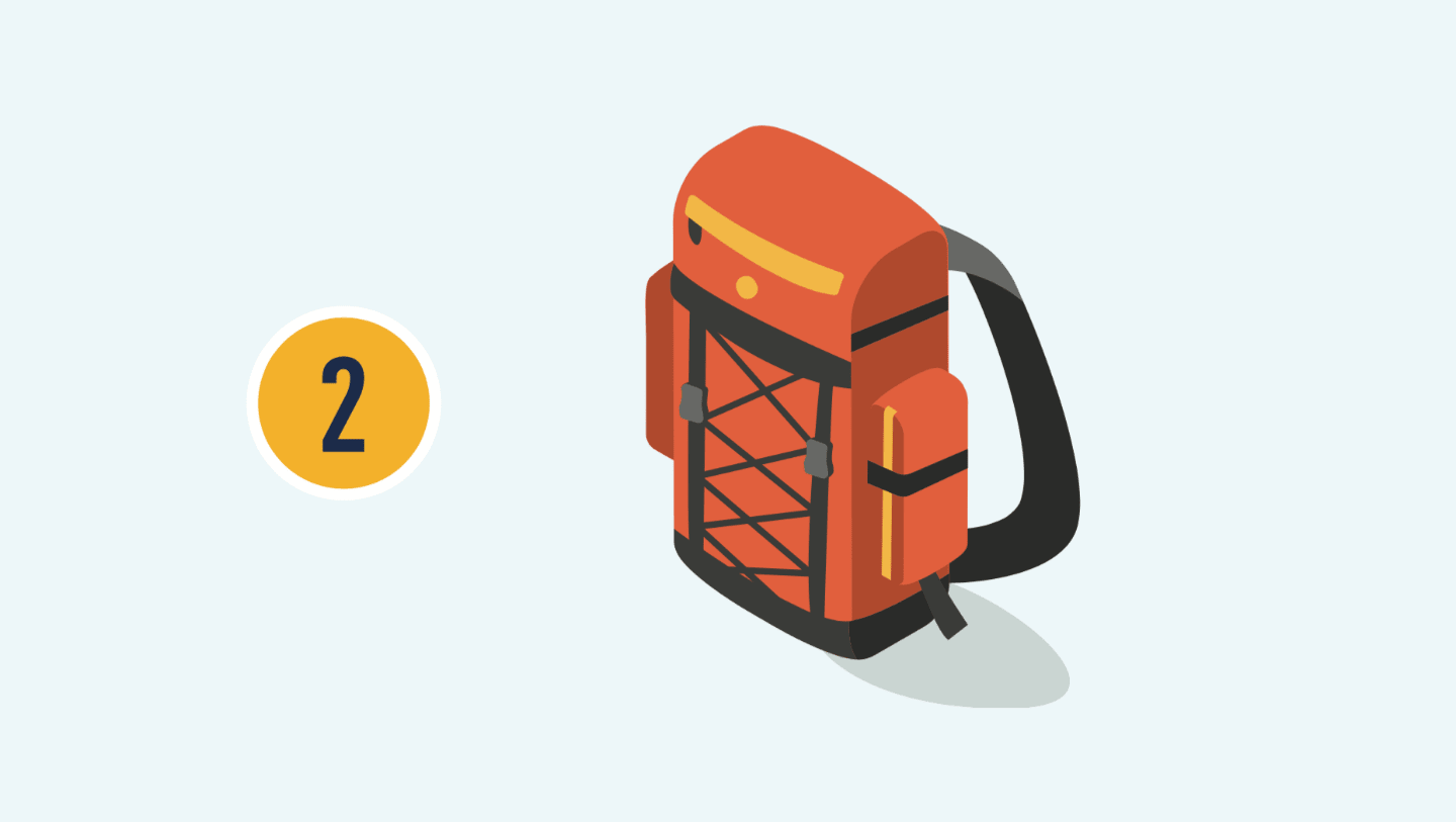 The number two with illustration of a backpack.