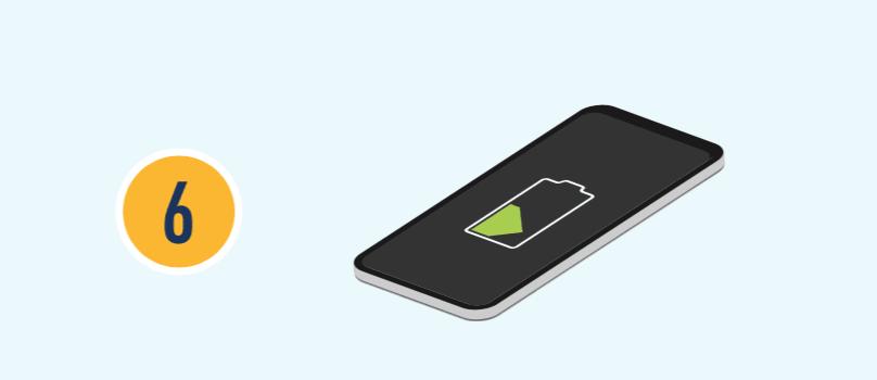 El número seis con ilustración de un teléfono cargándose.