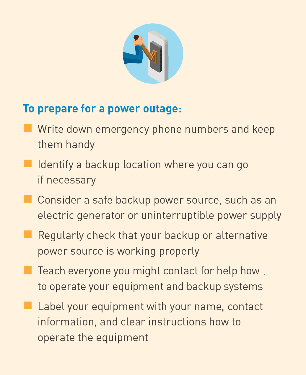 Bulleted list of tips to prepare for a power outage