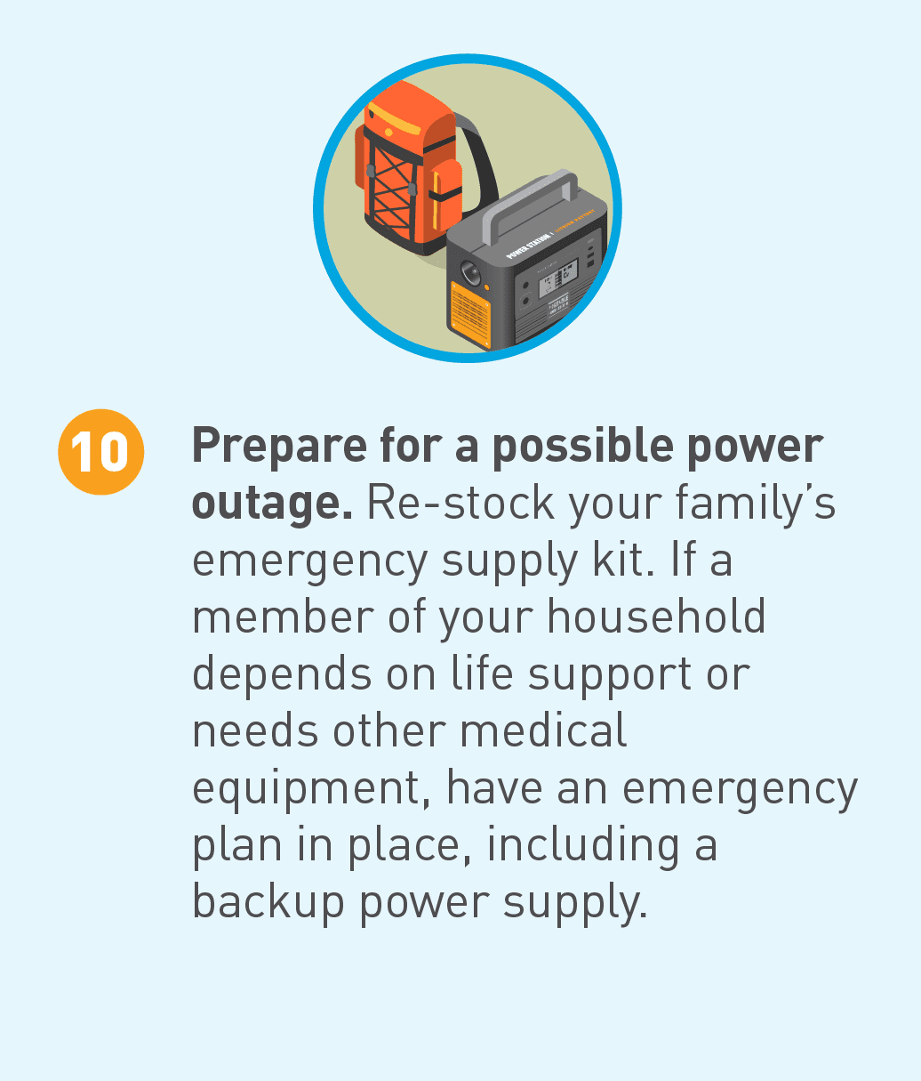 Illustrated icon of backup power and backpack