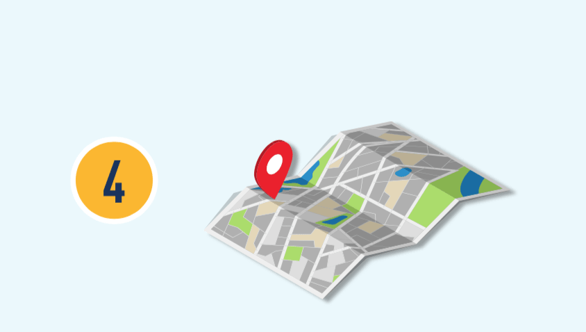 數字四和一份地圖的插圖。
