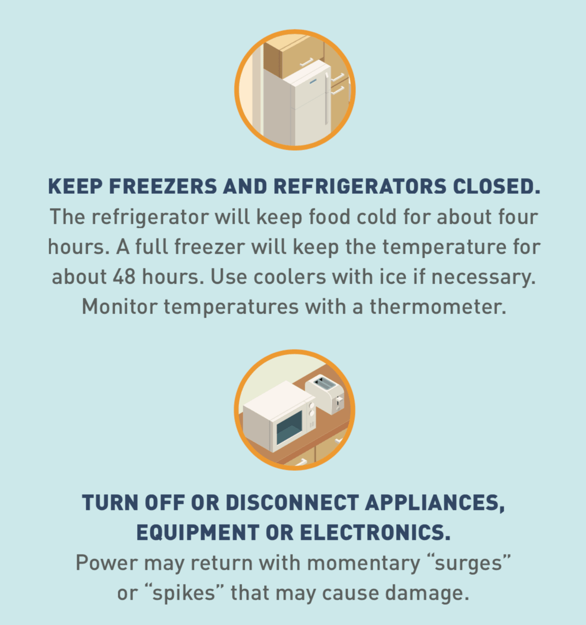 Illustrated icon of a refrigerator and freezer, and icon of a toaster and microwave.