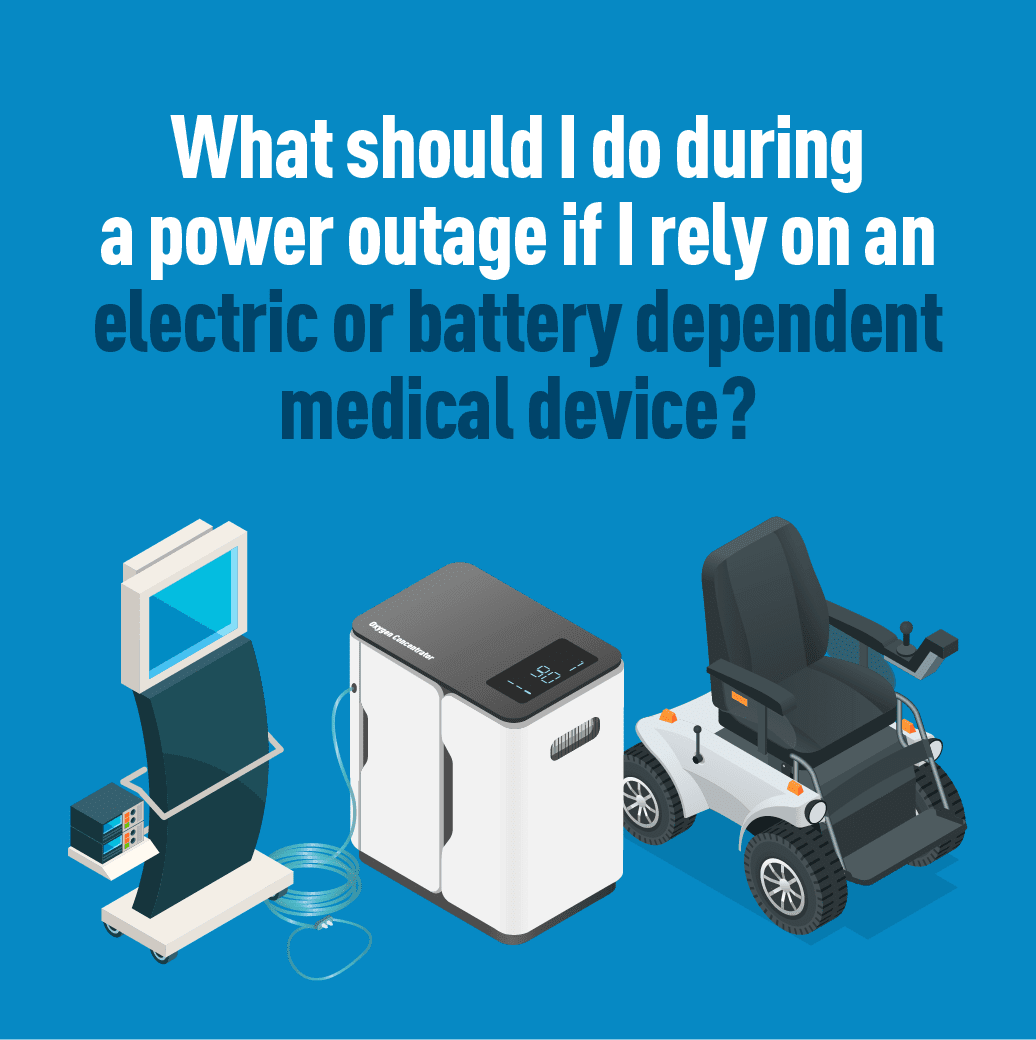 Icons of electric or battery dependent medical devices