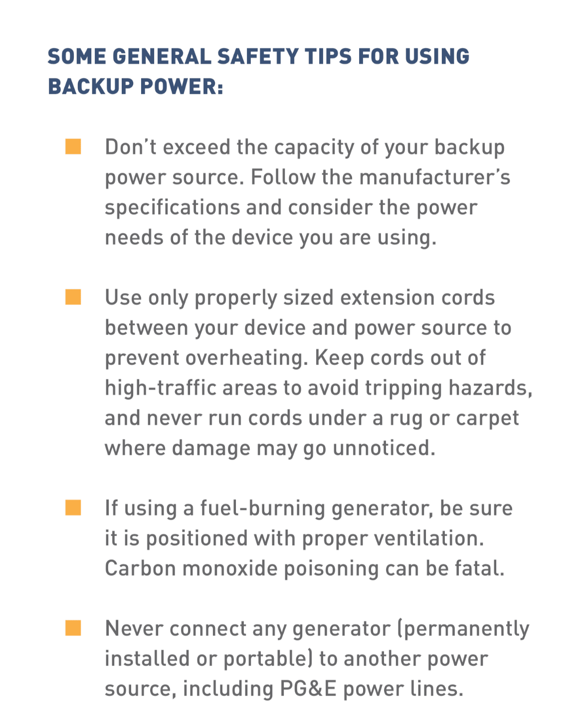 Text block with general safety tips for using backup power