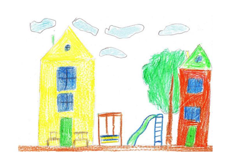 兩棟建築物中間有遊樂場、一棵樹和雲朵的插圖。'