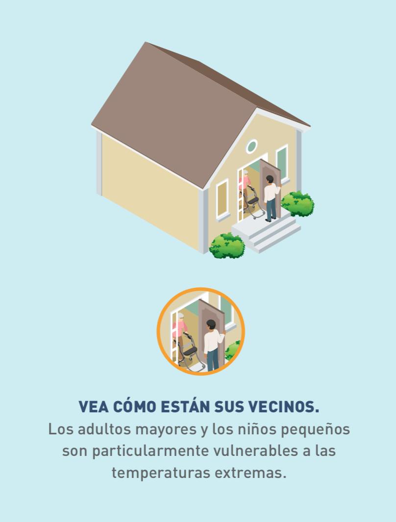 Ilustración e ícono de una persona en la puerta viendo cómo está un vecino de edad avanzada.