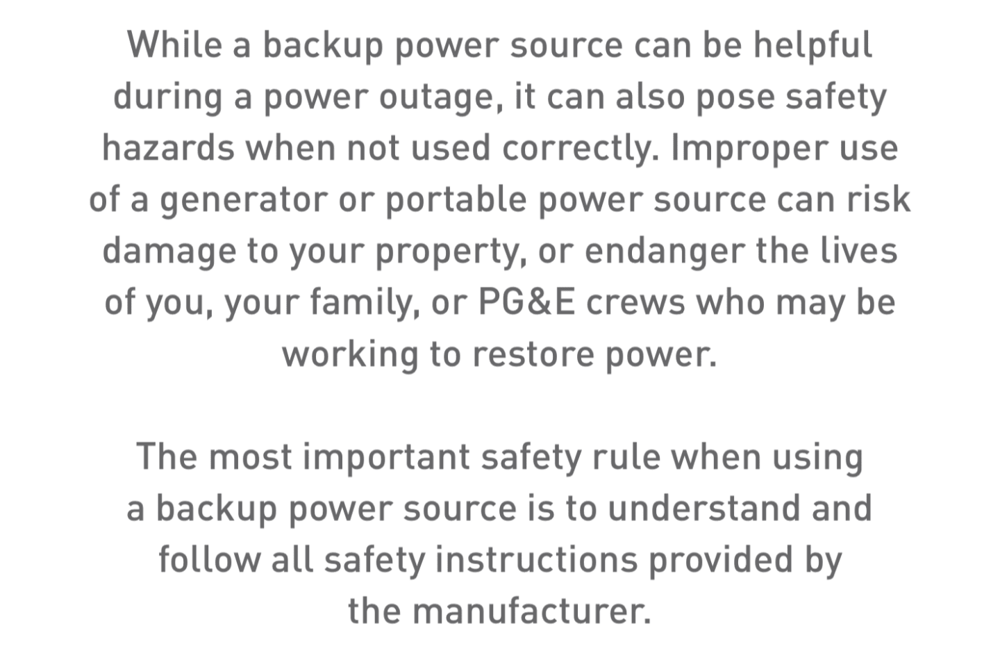 Text block about backup power safety