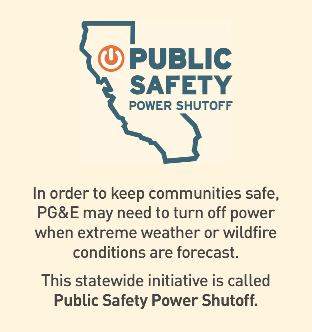 Illustration of California with a power button for the Public Safety Power Shuttoff initiative.