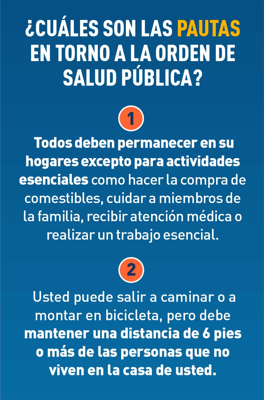 ¿Cuáles son las pautas en torno a la Orden de Salud Pública?