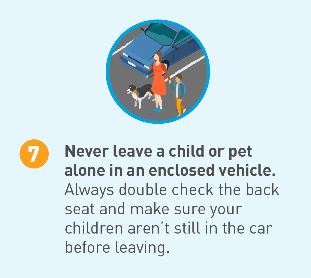 Illustrated icon of woman, child, and dog outside a vehicle