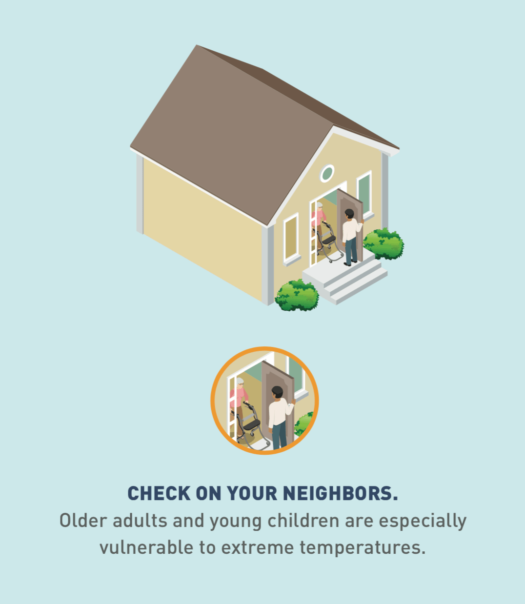 Illustration and an icon of a person checking at the door of an elderly neighbor.