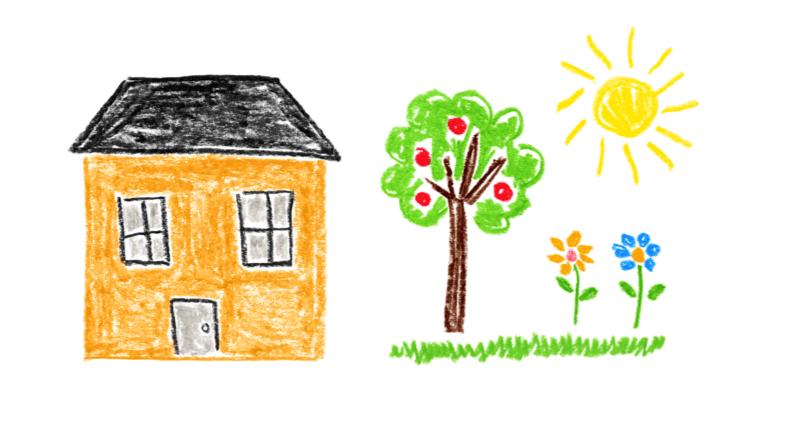 一棟房屋和有陽光照射花園的插圖。