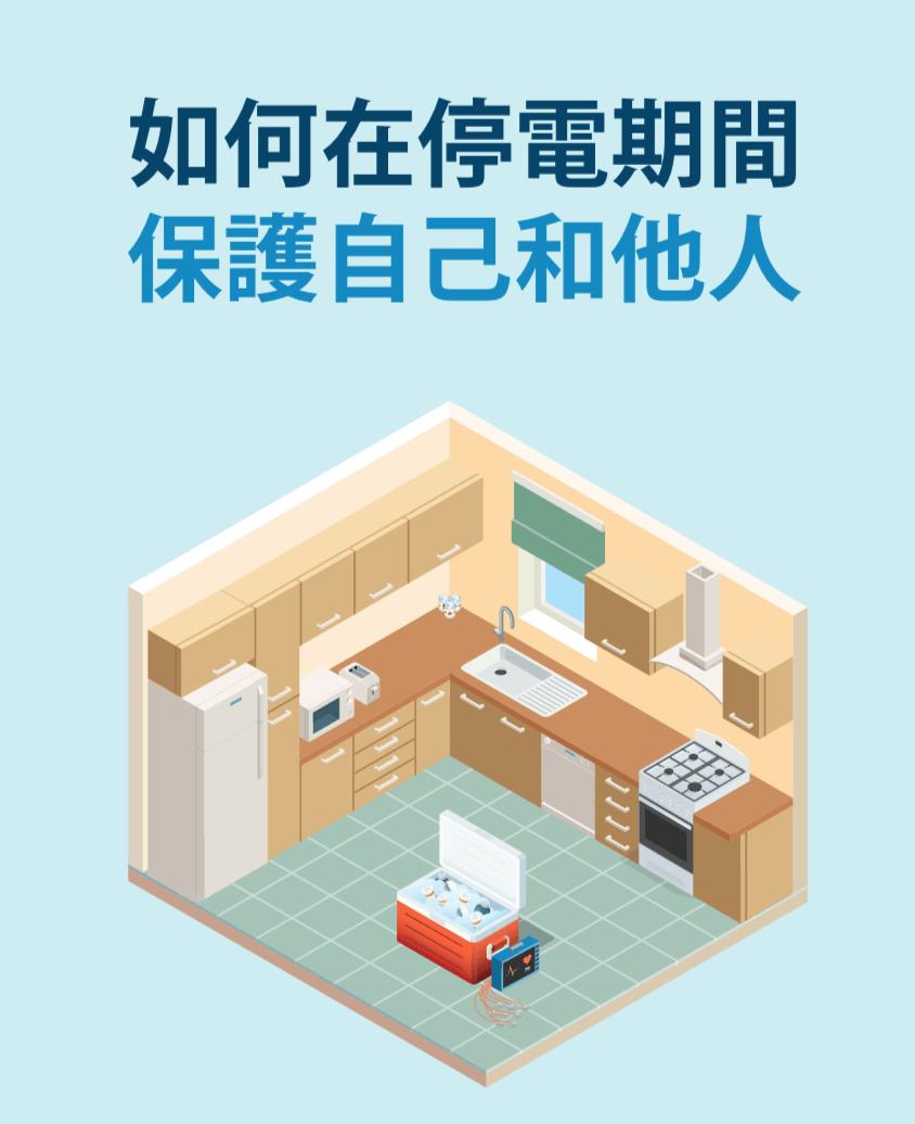 一間廚房中央有保冷小冰箱和醫療設備的插圖。
