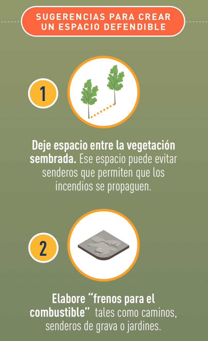 Ícono de vegetación muy separada, e ícono de un espacio despejado.