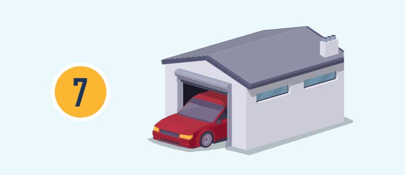 El número siete con ilustración de un auto en una cochera con la puerta abierta.