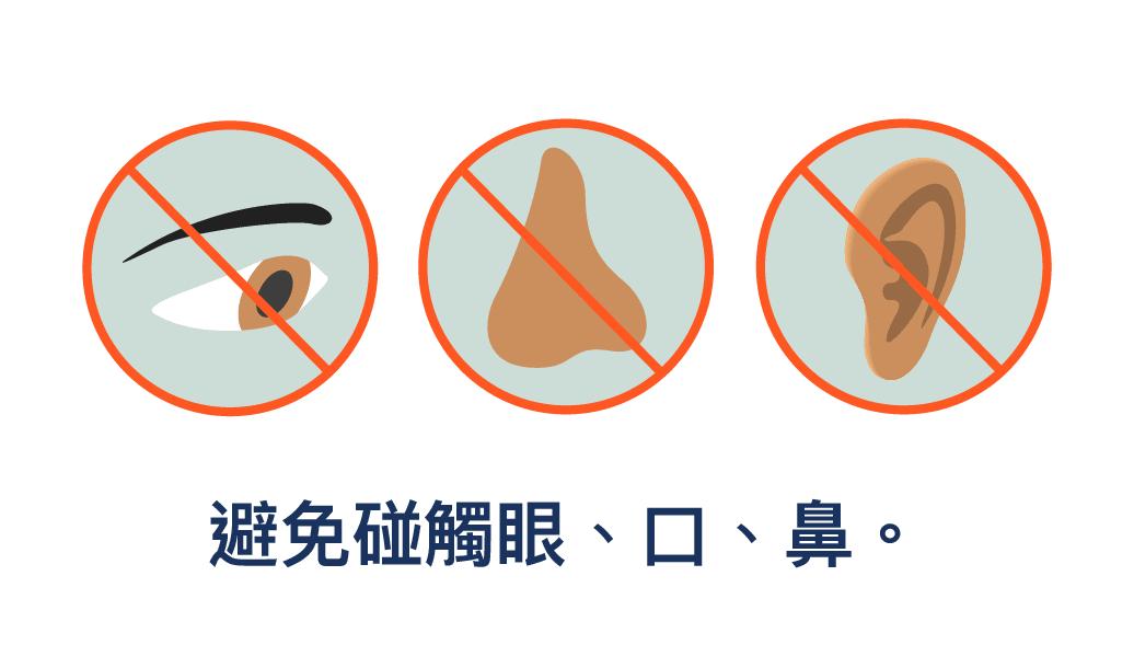 圖片顯示你不應觸摸眼、鼻、口