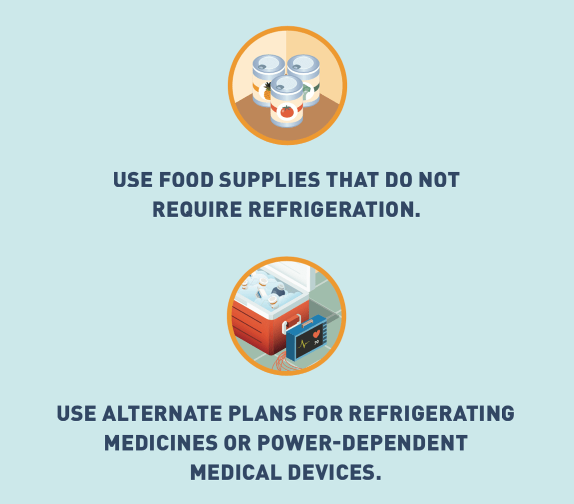 Illustrated icon of canned food, and icon of full cooler with medication and medical device.