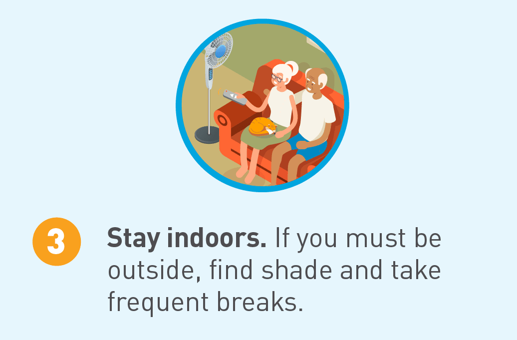 Illustrated icon of people sitting indoors with a fan