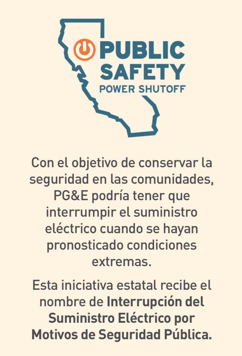 Ilustración de California con un botón de encendido para la iniciativa Interrupción Eléctrica para la Seguridad Pública