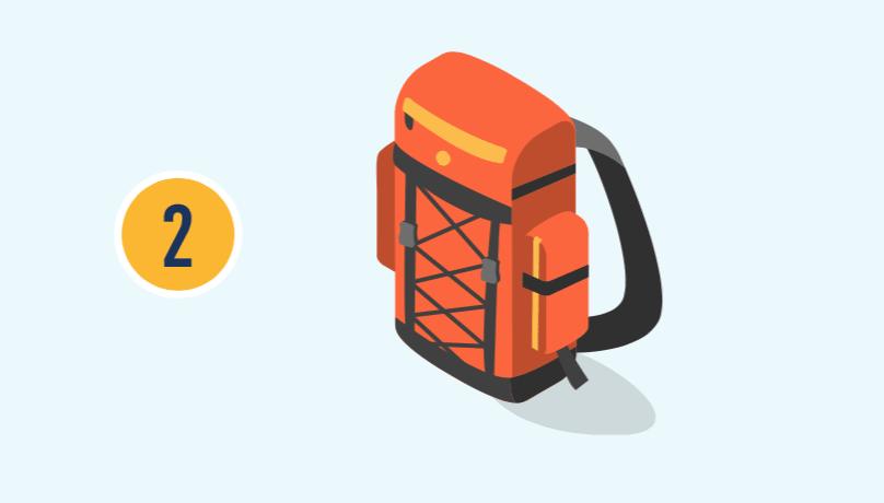 El número dos con ilustración de una mochila.