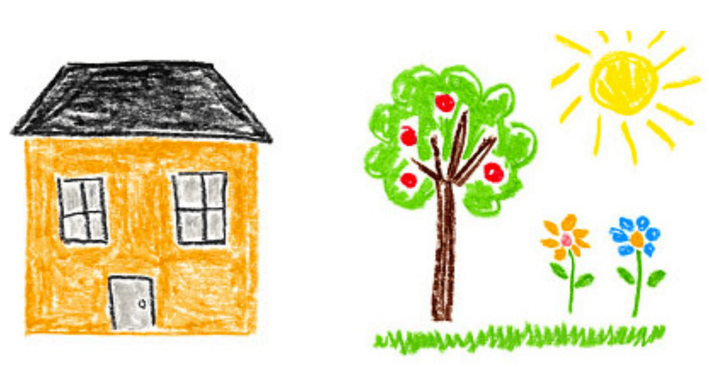 Illustration of house and neighborhood garden with the sun shining