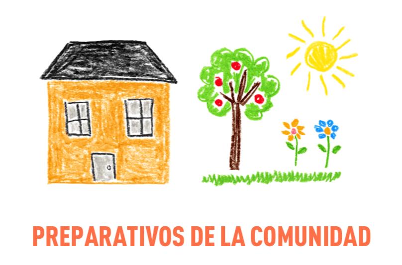 Ilustración de una casa y jardín comunitario con el sol brillando