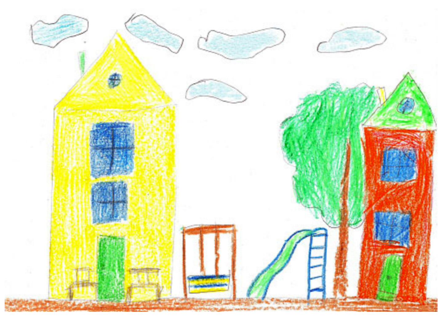 Illustration of two buildings, shared playground, a tree, and clouds