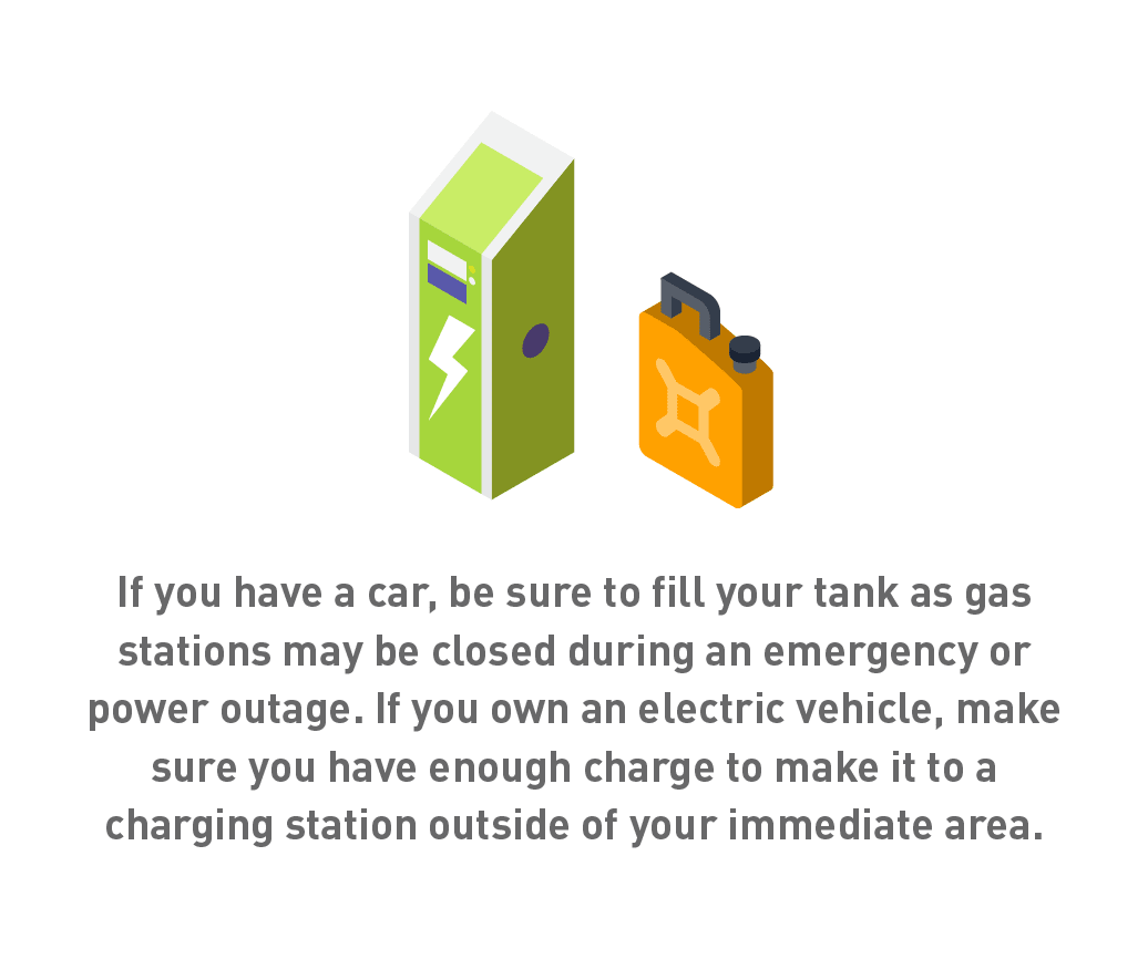 Graphic of gas can and electric charging station.
