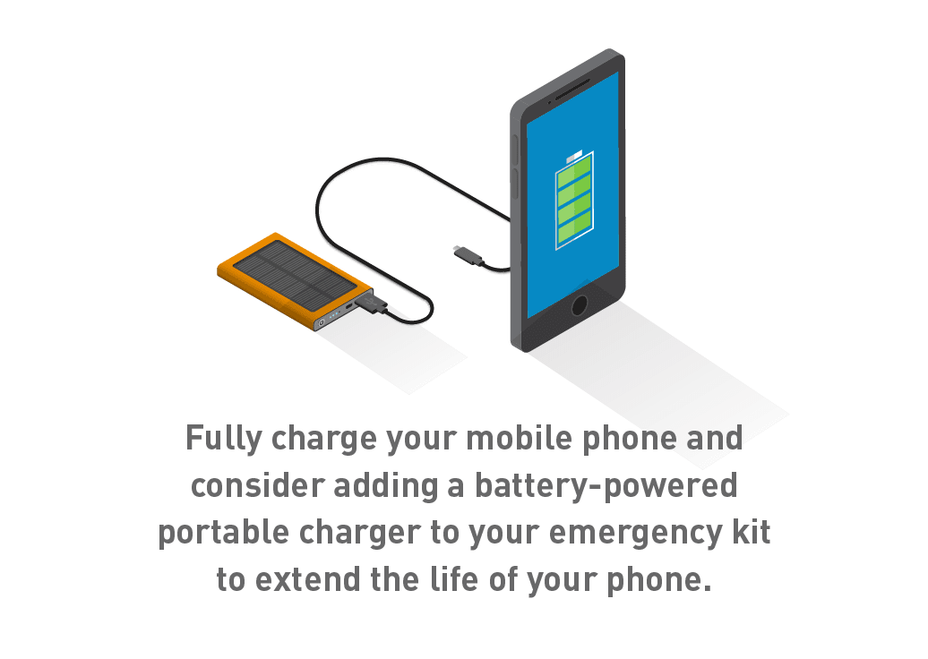 Graphic of mobile phone and portable battery