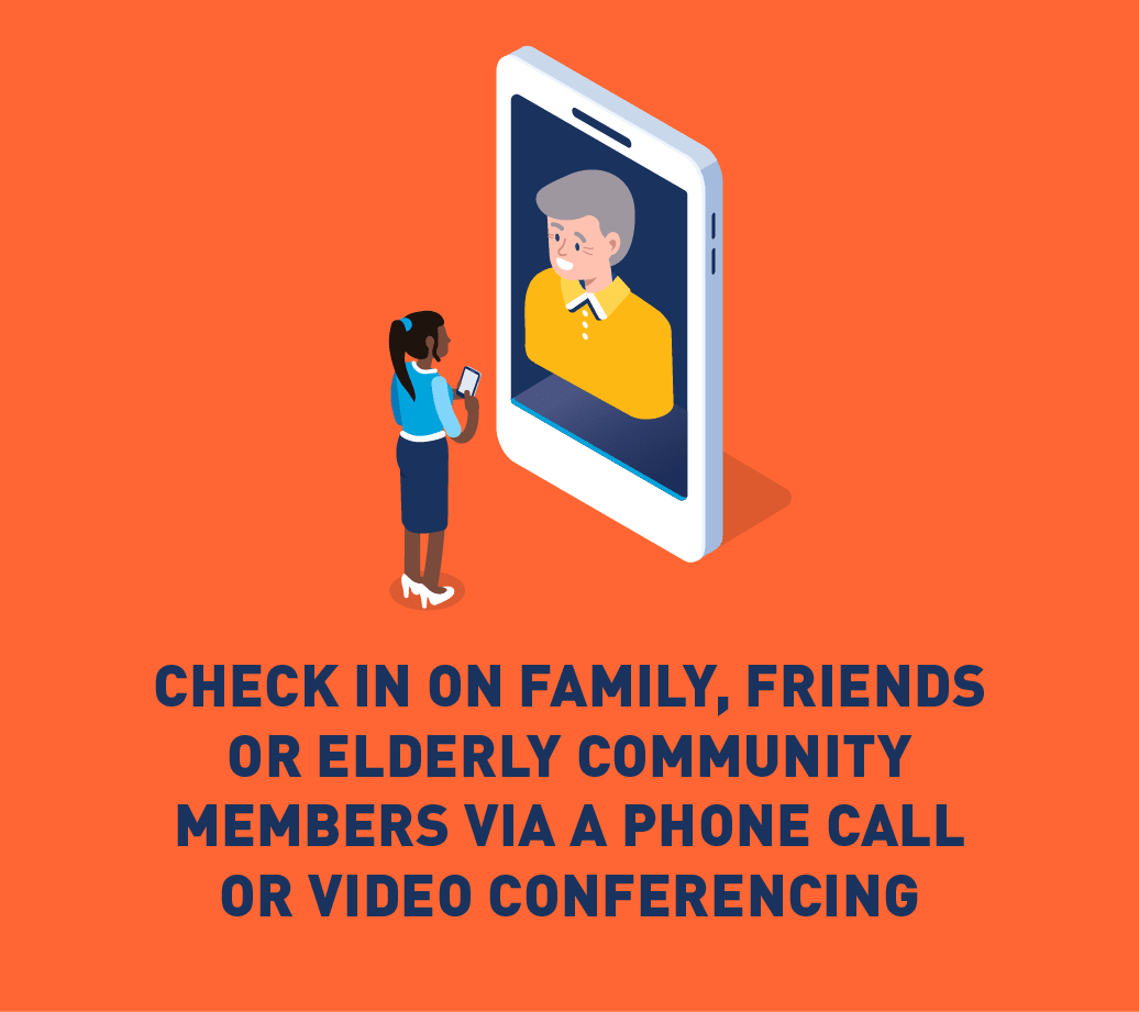 Graphic of person video chatting with older adult.