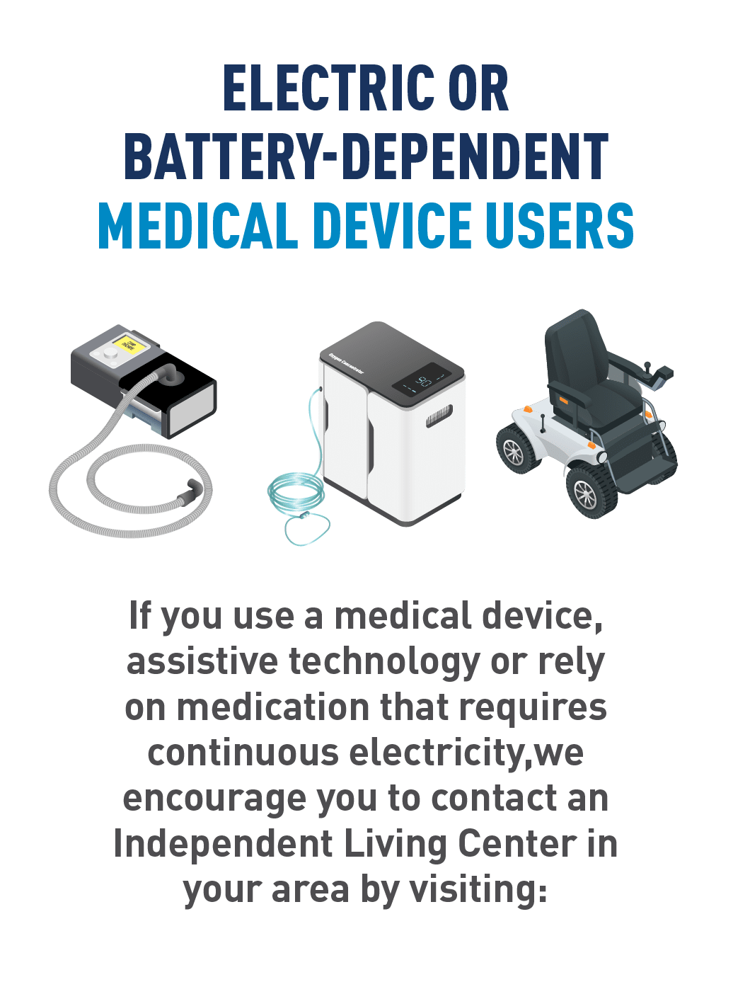 Graphic of electric-powered medical devices