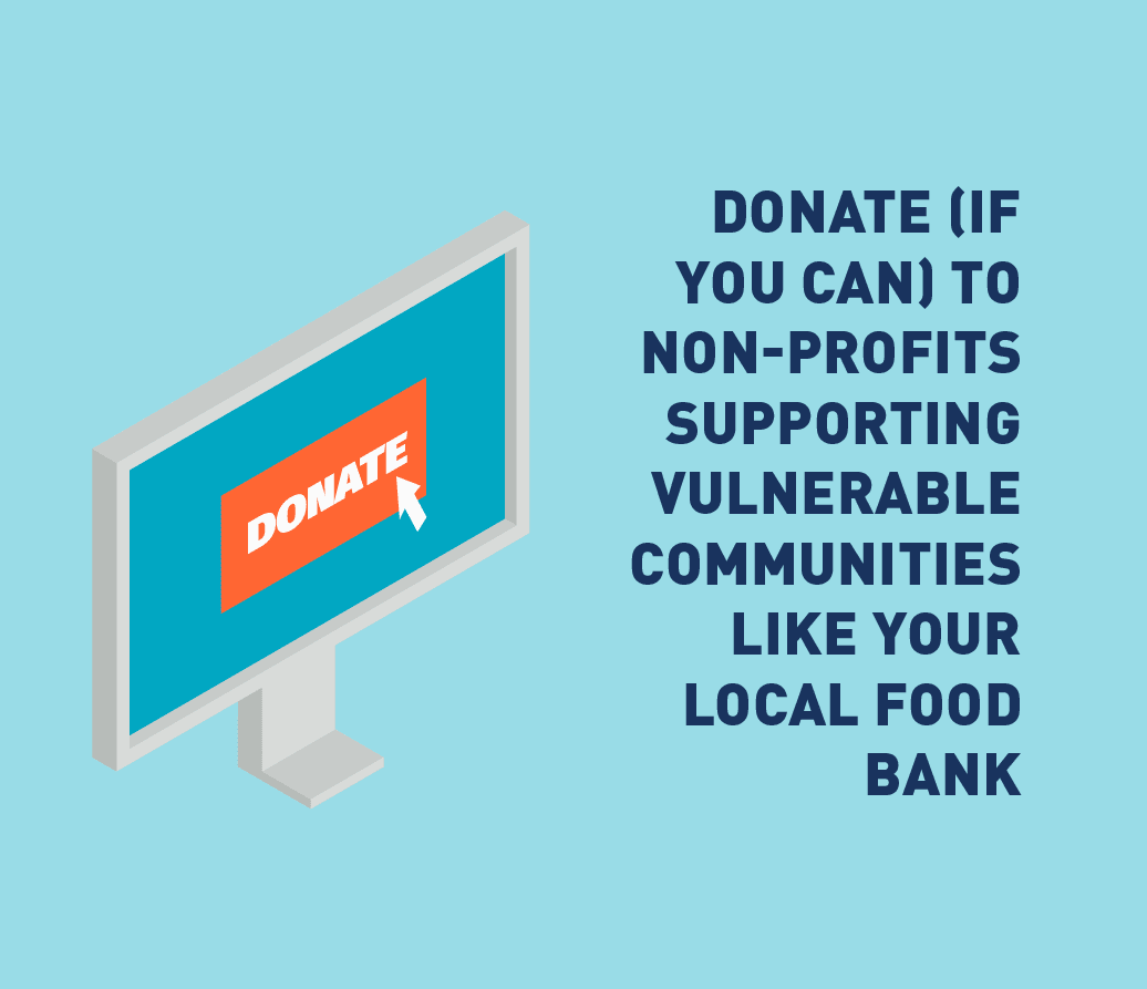 Graphic of computer screen and donate symbol.