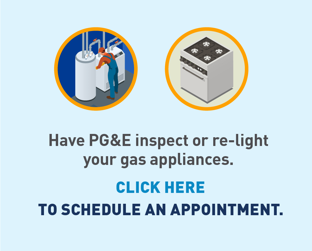 Graphic of PG&E employee checking appliances and graphic of stove