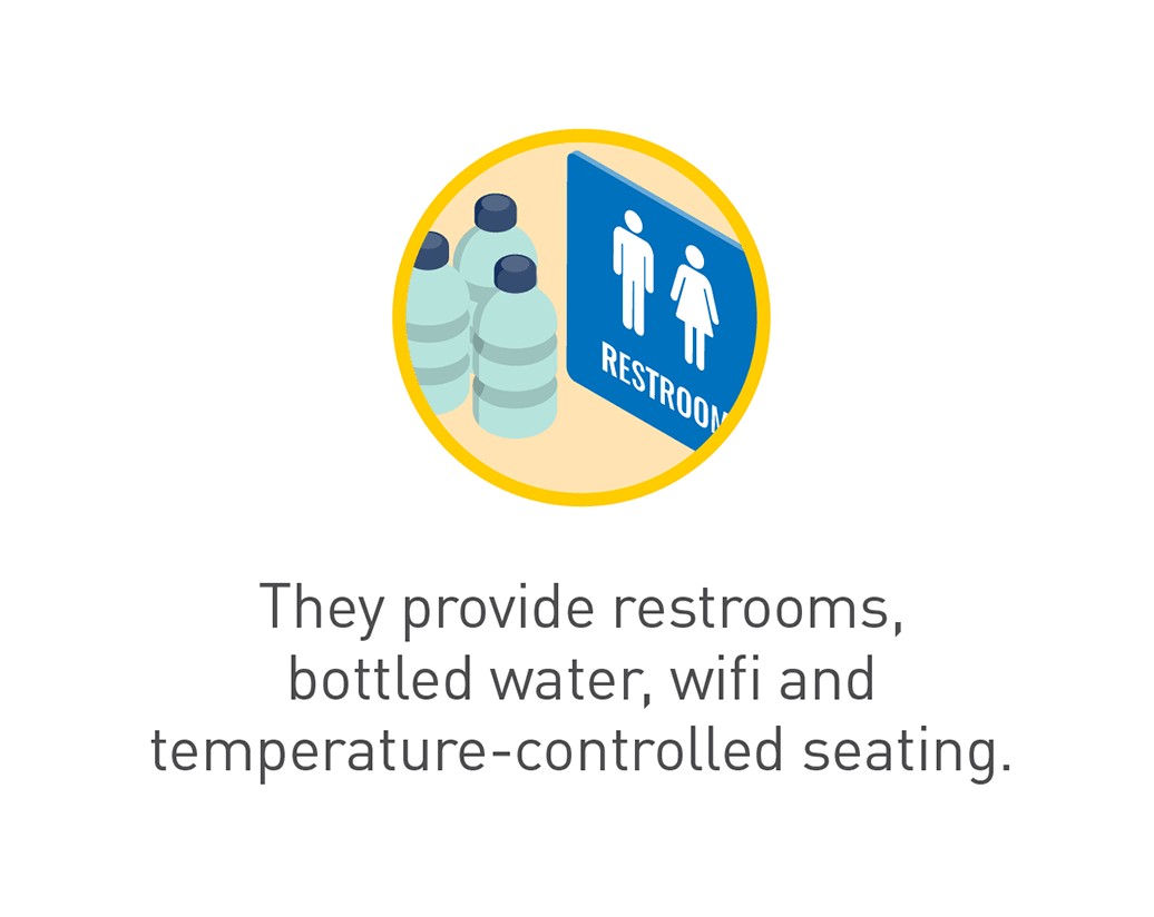 Graphic of bottled water and restroom sign