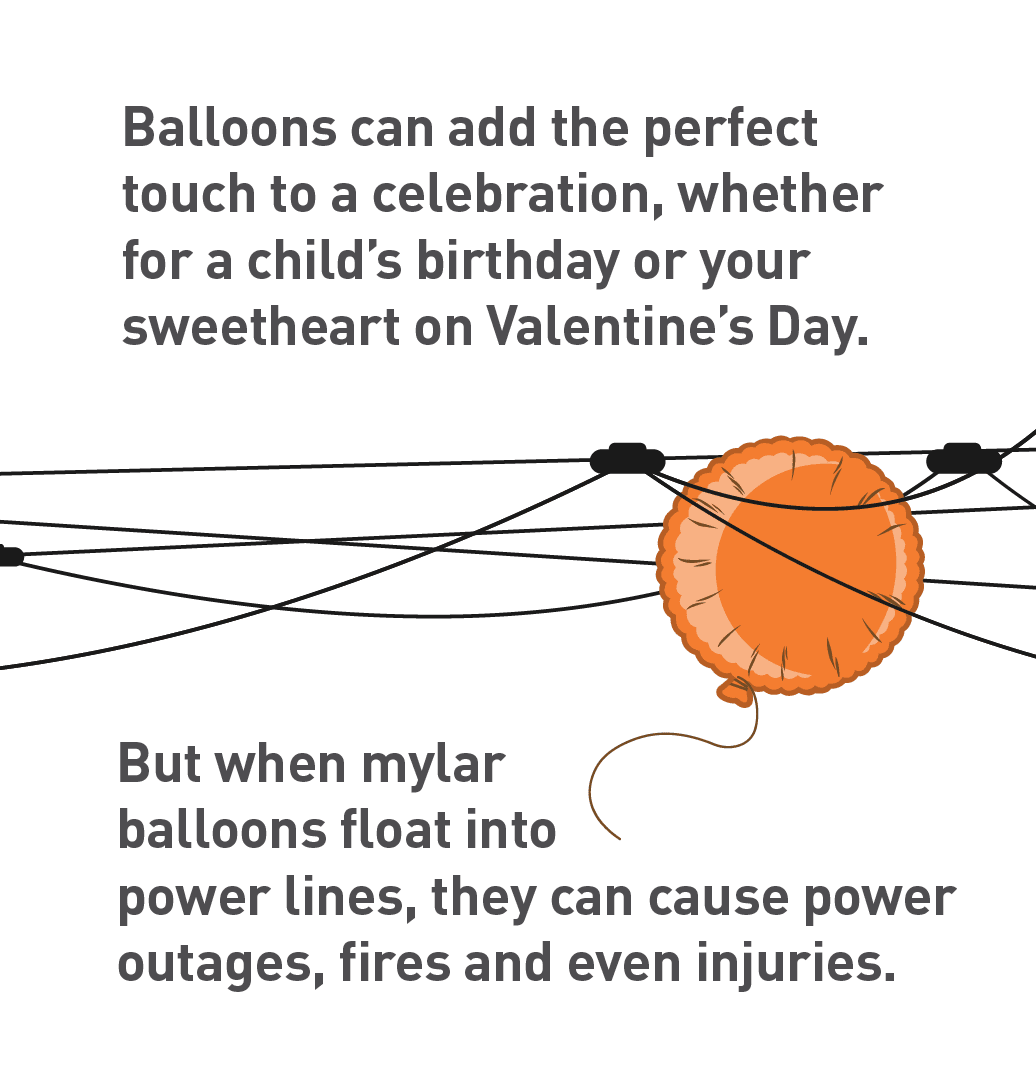 Graphic of mylar balloon caught in power lines