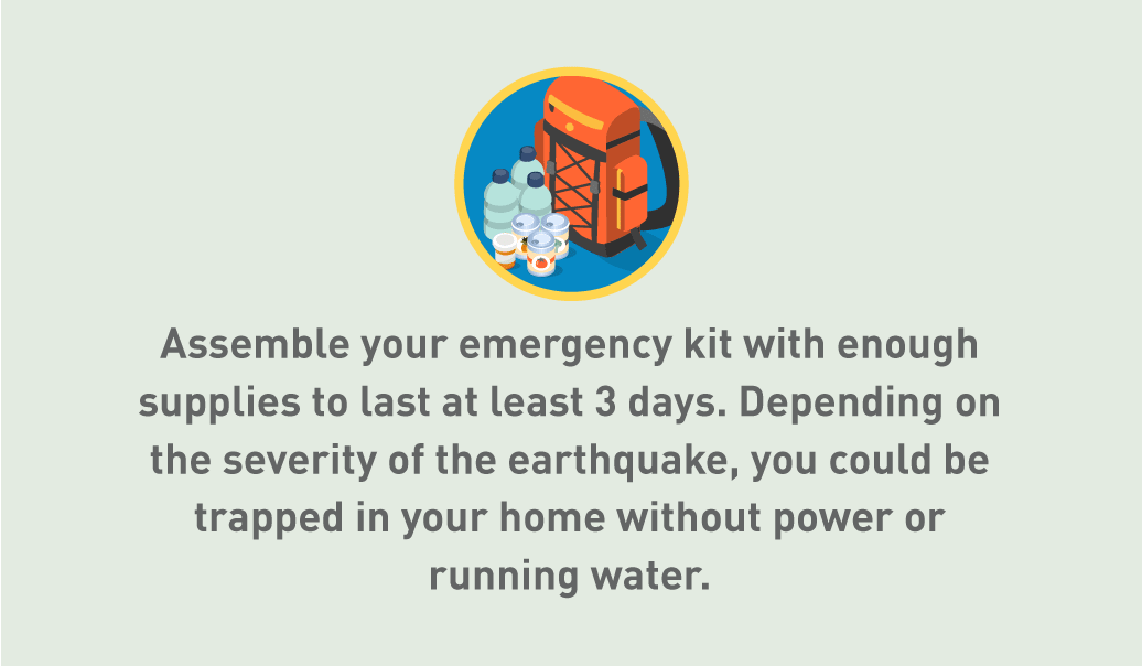 Graphic of emergency kit with bag, water, food and medicine