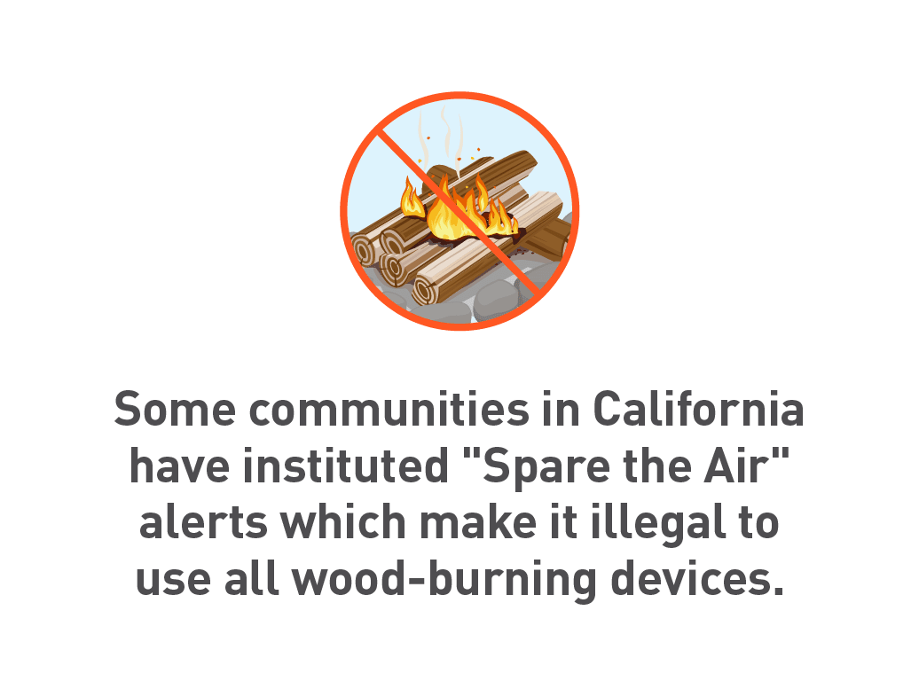 "Graphic of wood burning fire with ""do not"" sign around image"