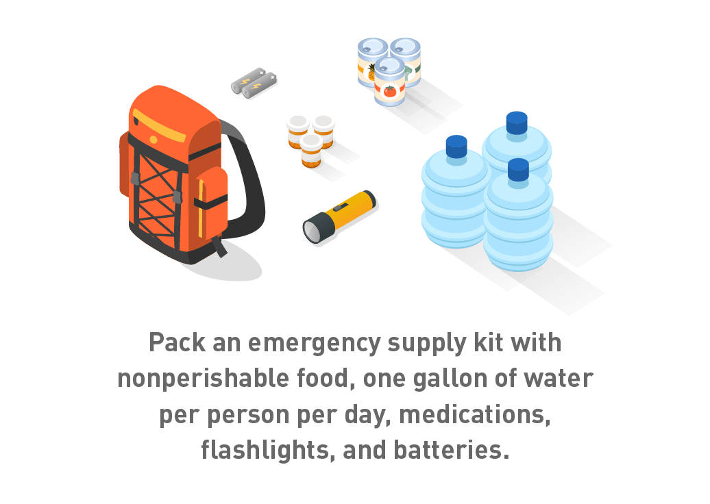 Graphic of emergency kit with supplies